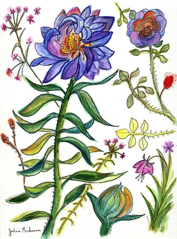 Nature Flowers Orchids Art Painting Plants Fantasy Poster featuring the painting Blue Flowers 55 by Julie Richman