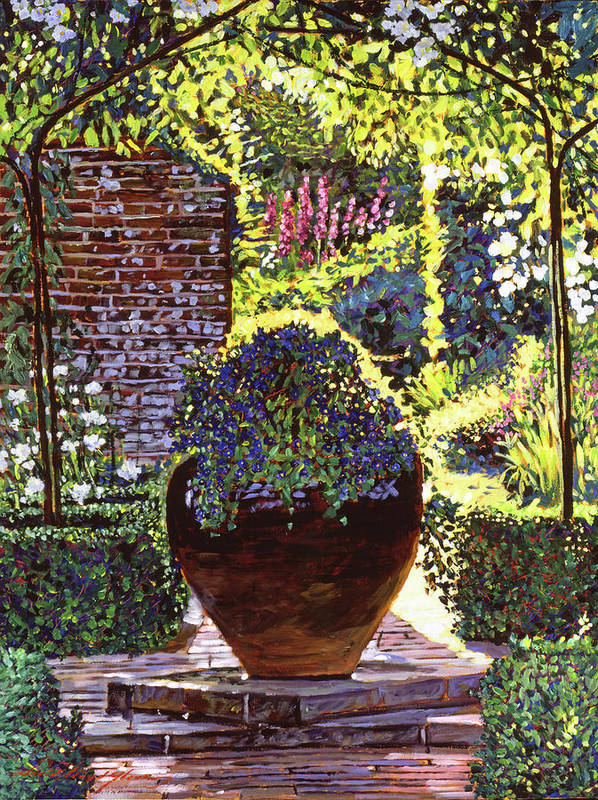 Gardens Poster featuring the painting Blue Flowers by David Lloyd Glover