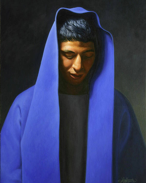 Poster featuring the painting Blue by Gary Hernandez