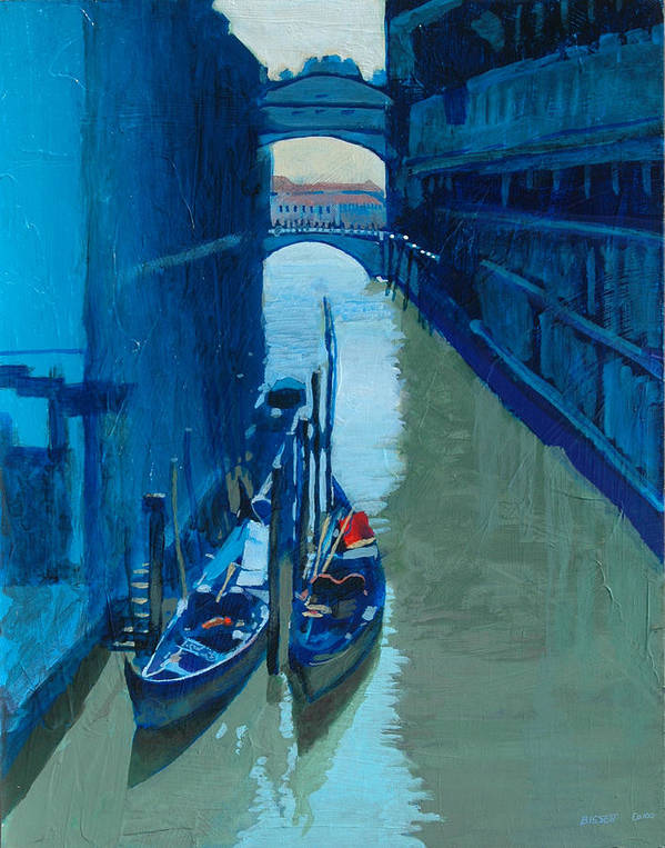 Italy Poster featuring the painting Blue Gondolas by Robert Bissett