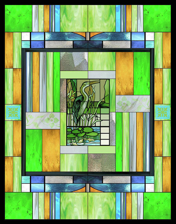 Blue Heron Poster featuring the mixed media Blue Heron Stained Glass by Ellen Henneke