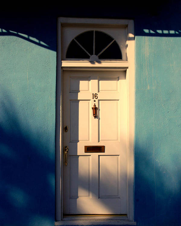 Blue Poster featuring the photograph Blue House Door by Susanne Van Hulst
