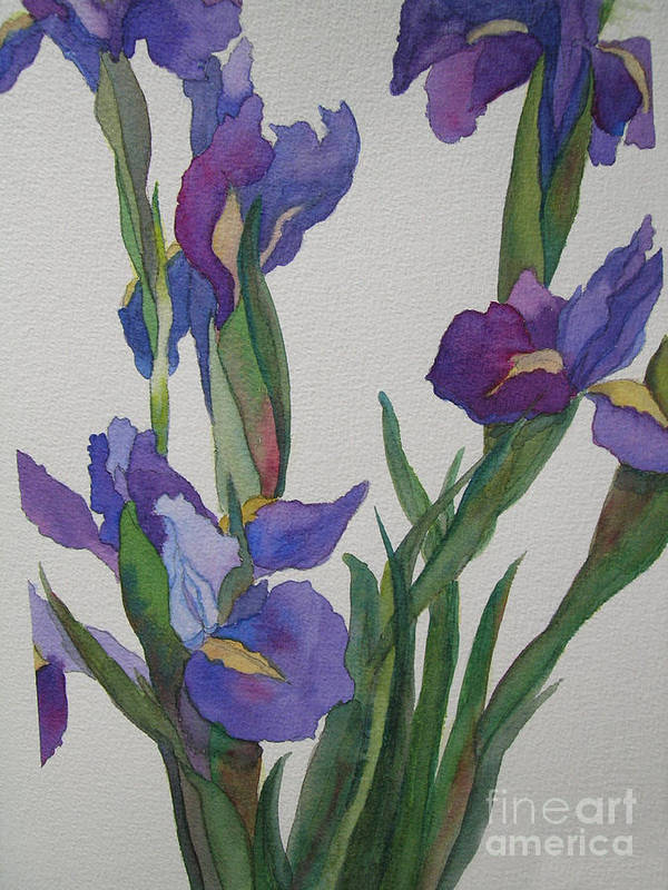 Blue Poster featuring the painting Blue Iris by Jeff Friedman