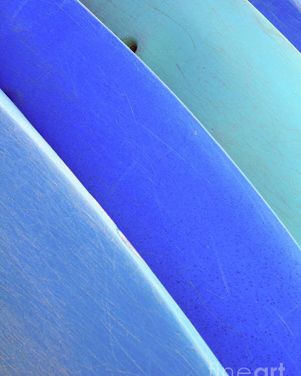 Afternoon Poster featuring the photograph Blue Kayaks by Brandon Tabiolo - Printscapes