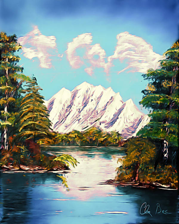 Canada Poster featuring the painting Blue Lake Mirror Reflection - Elegance With Oil by Claude Beaulac