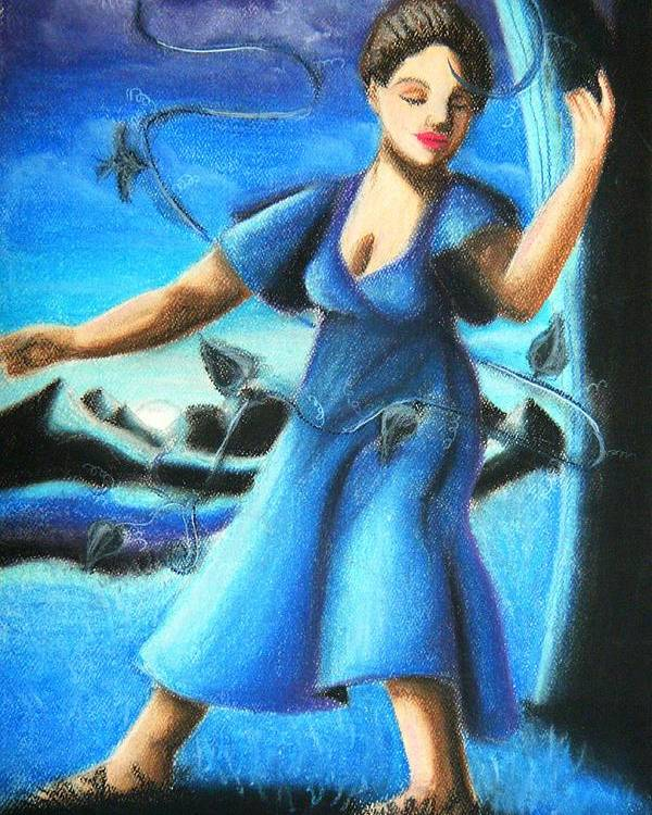 Blue Mood Dancer Poster featuring the drawing Blue Mood Dancer by Scarlett Royal