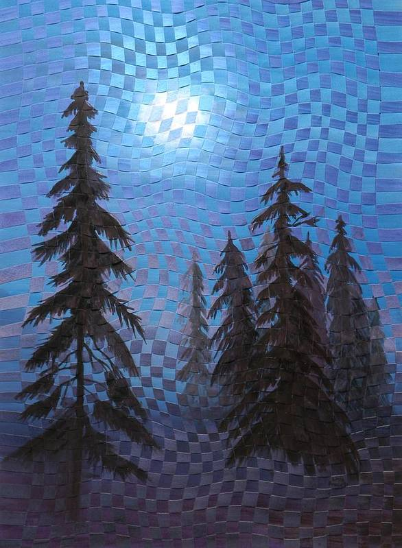 Landscape Poster featuring the painting Blue Moon by Linda L Doucette