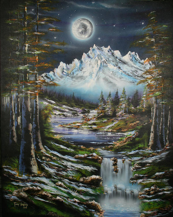 Landscape Poster featuring the painting Blue Moon Shine by Tony Vegas