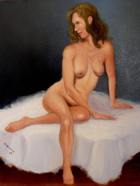 Realism Poster featuring the painting Blue Nude by Donelli DiMaria