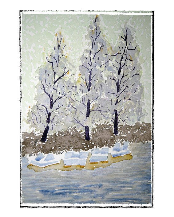 Landscape Poster featuring the painting Blue Paddle Boats by Robert Boyette