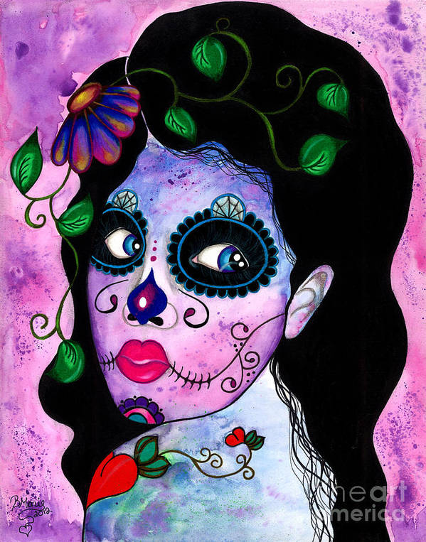 Sugar Skull Poster featuring the painting Blue Peepers by B Marie
