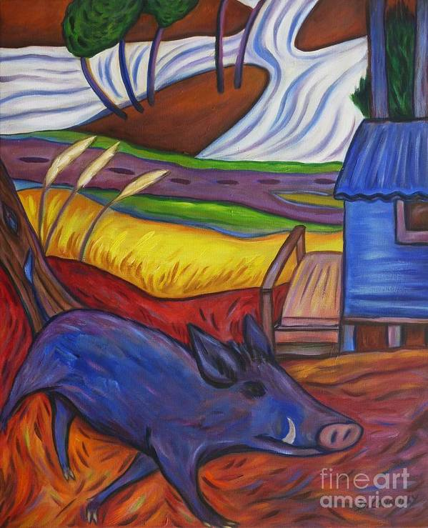 Blue Poster featuring the painting Blue Pig By Blue Hut by Dianne Connolly