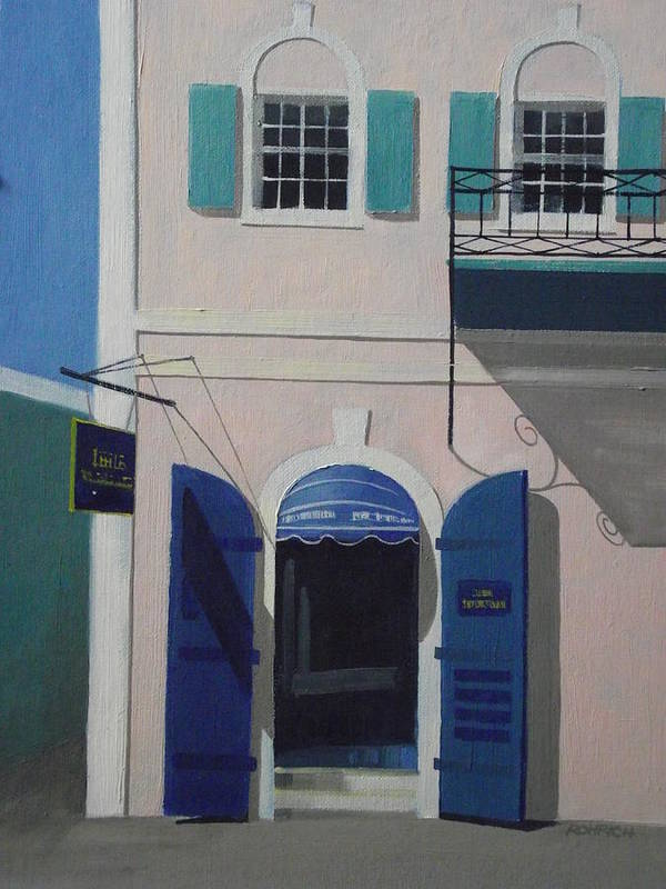 Main Street Charlotte Amalie Poster featuring the painting Blue Shutters In Charlotte Amalie by Robert Rohrich