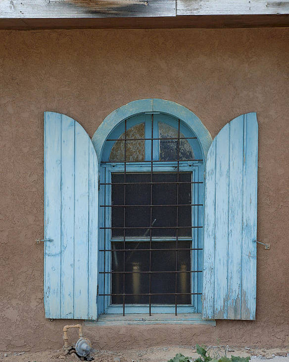 Adobe Poster featuring the photograph Blue Shutters by Jerry McElroy