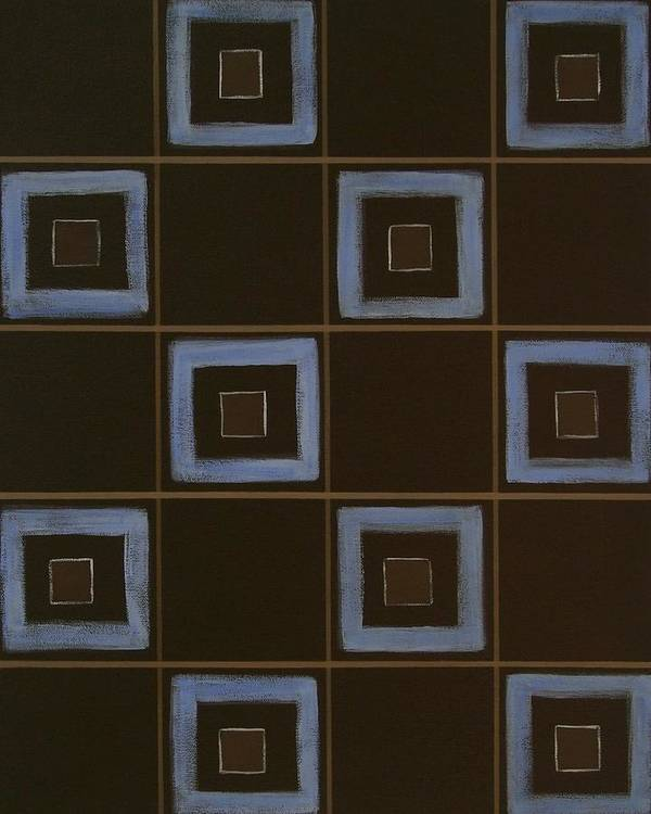 Contemporary Poster featuring the painting Blue Squares by Sandy Bostelman