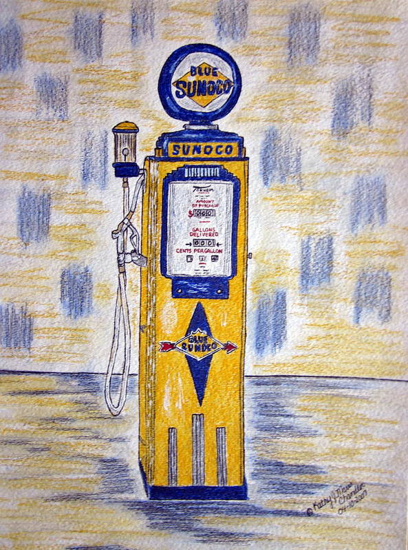 Blue Sunoco Poster featuring the painting Blue Sunoco Gas Pump by Kathy Marrs Chandler