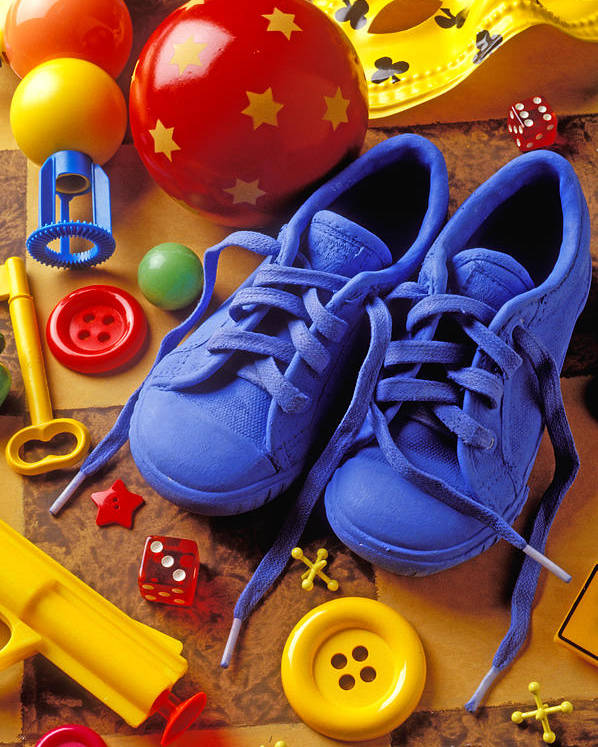 Shoes Poster featuring the photograph Blue Tennis Shoes by Garry Gay
