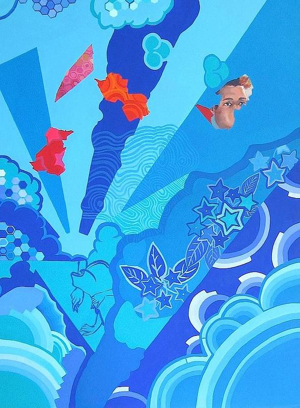 Blue Poster featuring the painting Blue That Surrounds Me by Takayuki Shimada