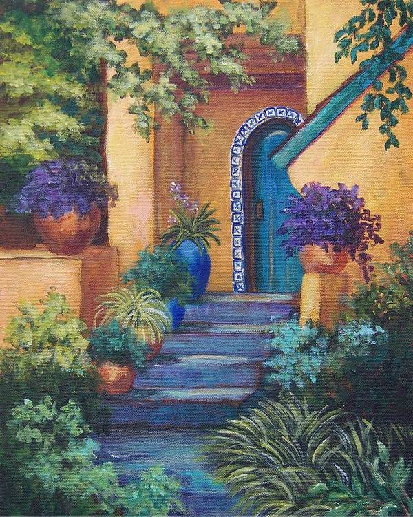 Adobe House Poster featuring the painting Blue Tile Steps by Candy Mayer