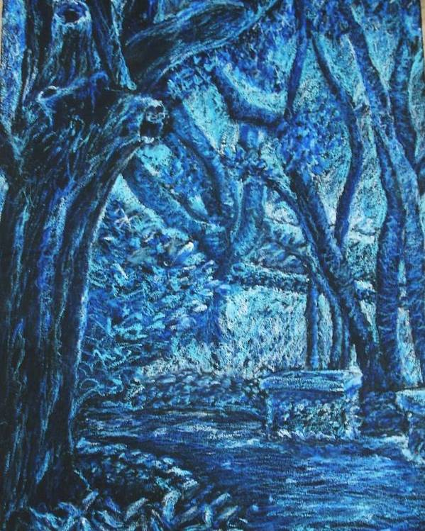 Trees Poster featuring the pastel Blue Trees by Patricia Gomez