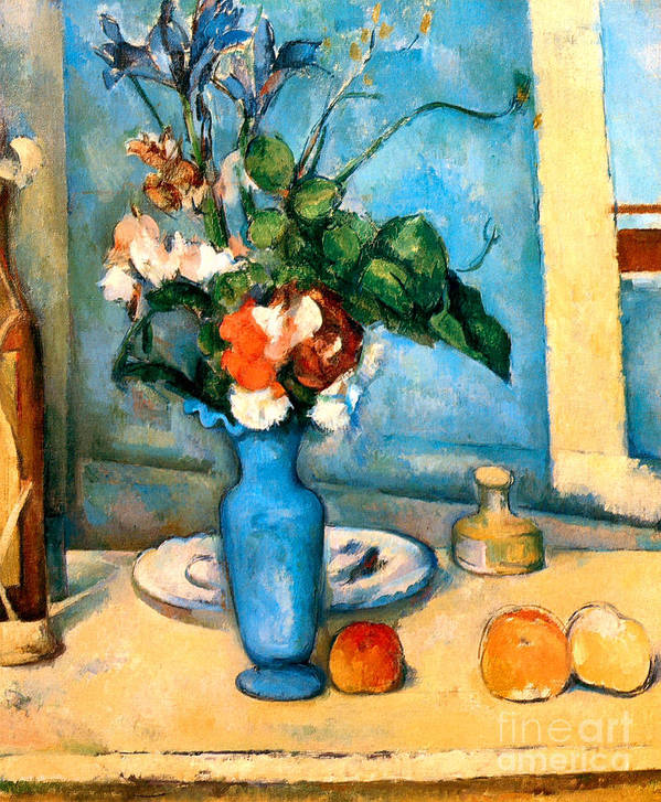Pd Poster featuring the painting Blue Vase By Paul Cezanne by Pg Reproductions