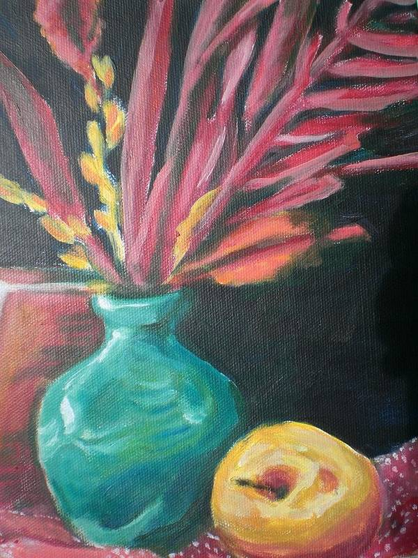 Poster featuring the painting Blue Vase With Red by Aleksandra Buha