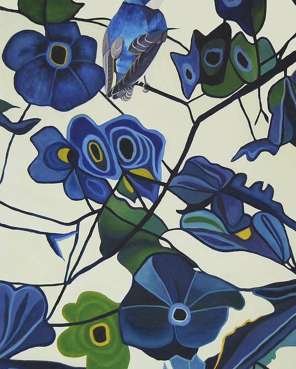 Blue Bird Poster featuring the painting Blue by Veronica Maldonado