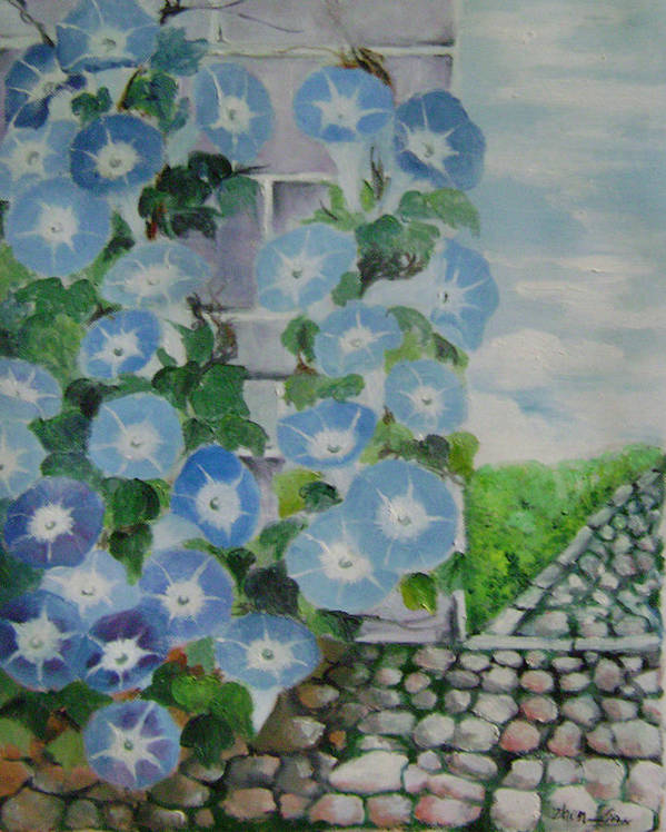 Floral Poster featuring the painting Blue Wall by Lian Zhen