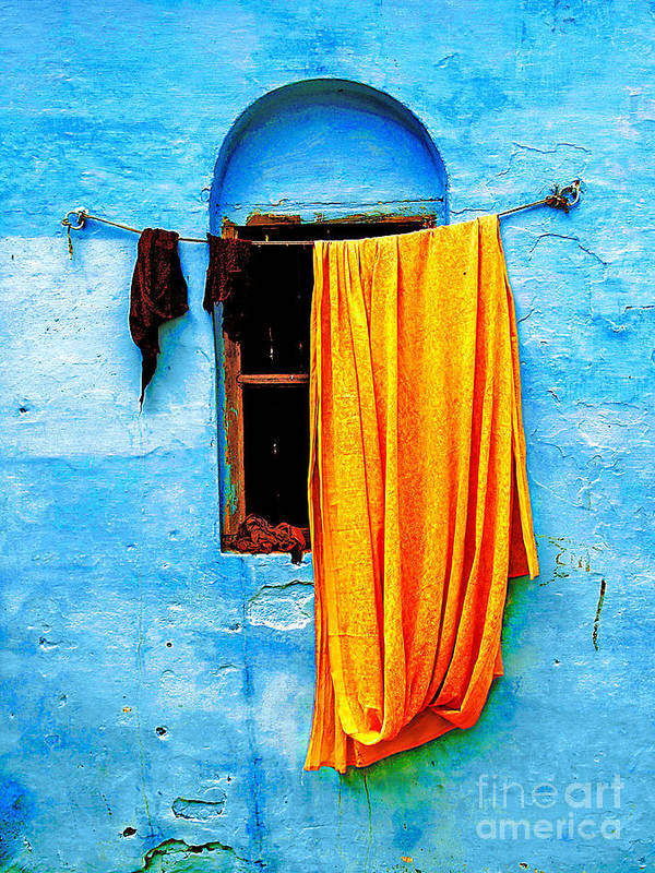 Wall Poster featuring the photograph Blue Wall With Orange Sari by Derek Selander