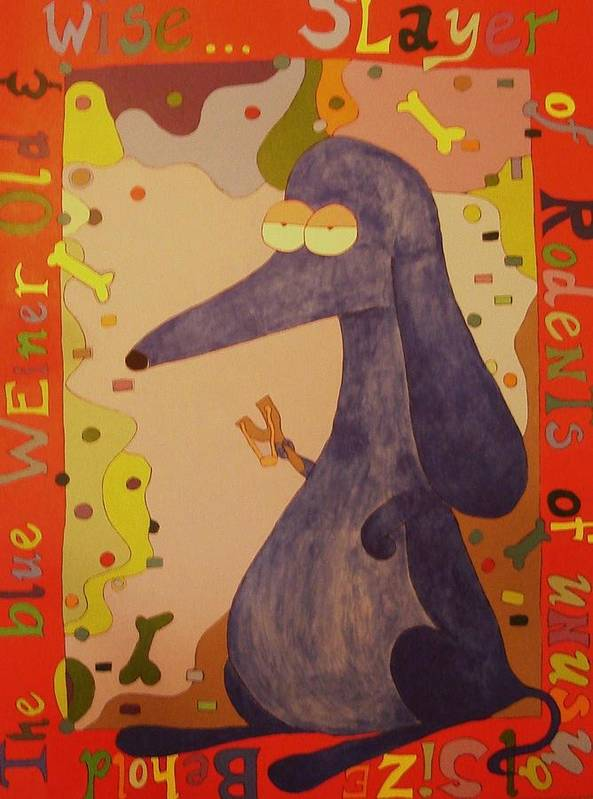 Dachshund Poster featuring the painting Blue Weiner by Kimberly Hill