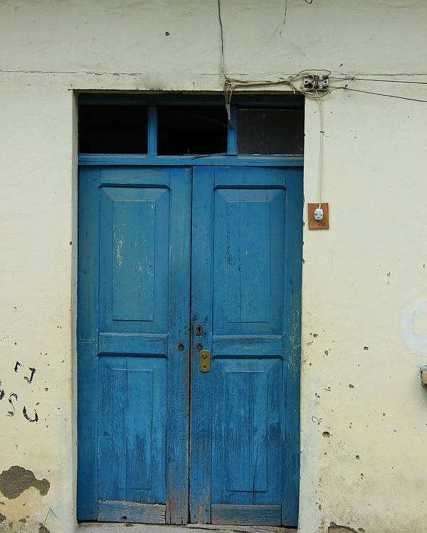 Door Poster featuring the photograph Blue Wood Door In A Building by Robert Hamm