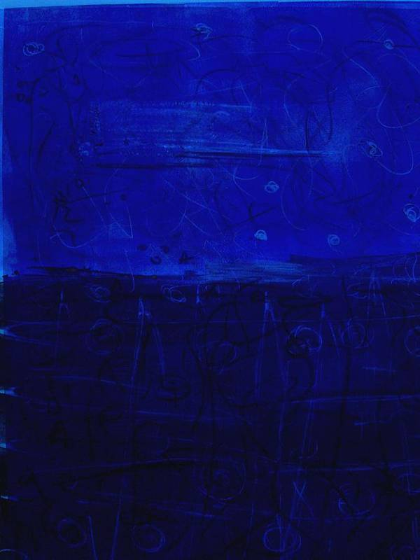 Blue Abstract Poster featuring the painting Blue X And O by Susan Grissom