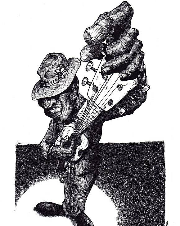 Blues Poster featuring the drawing Blues Guitar by Tobey Anderson