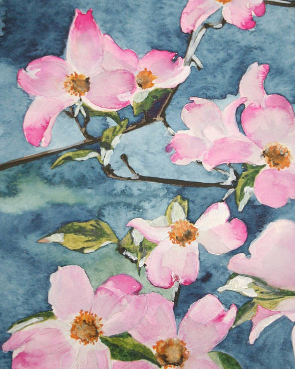 Flowers Poster featuring the painting Blushing Prettily by Jean Blackmer