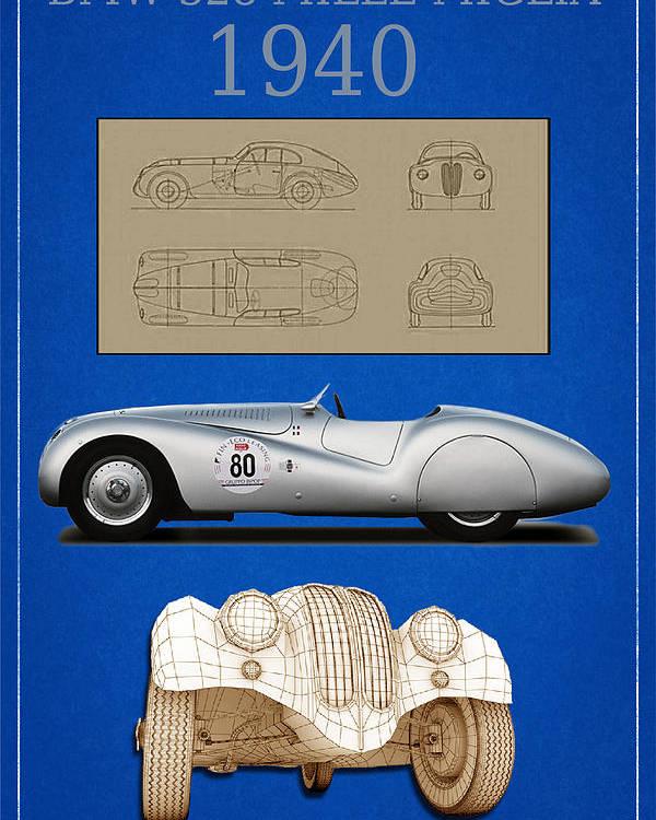 Bmw Poster featuring the digital art Bmw Mille Miglia Poster by Marcu Daniel