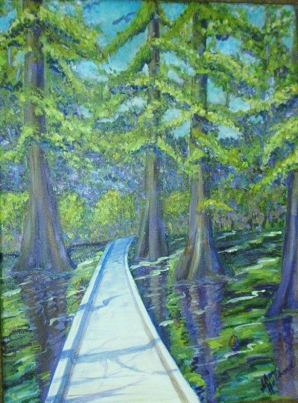 Cypress Poster featuring the painting Boardwalk At Cypress Preserve by Sheri Hubbard