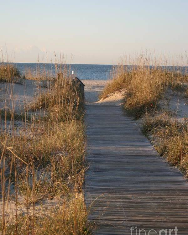 Boardwalk Poster featuring the photograph Boardwalk To The Beach by Nadine Rippelmeyer