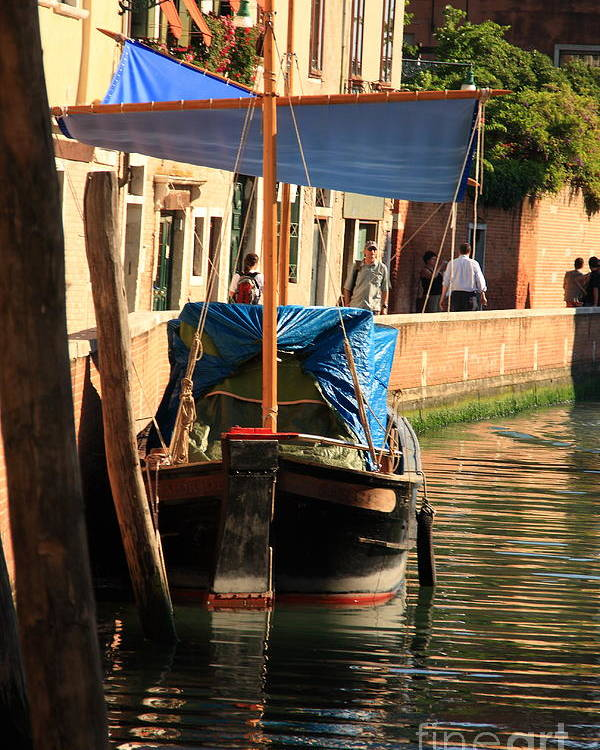 Venice Poster featuring the photograph Boat On Canal In Venice by Michael Henderson