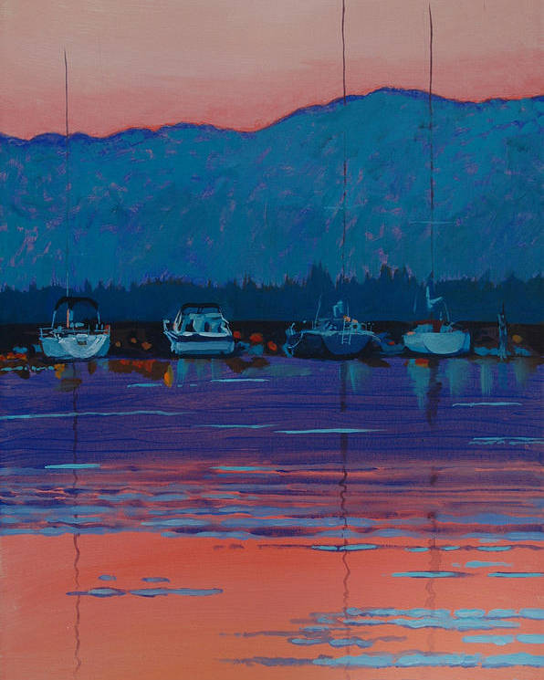 Sail Poster featuring the painting Boats At Dusk by Robert Bissett