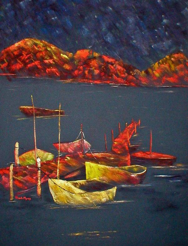 Boat Poster featuring the painting Boats At Nightfall by Rhonda Myers