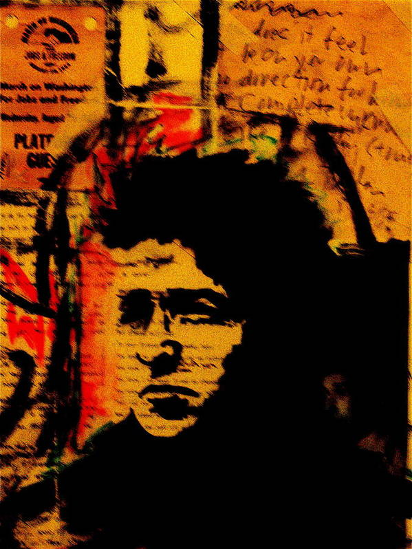 Portraits/collage/paintings Poster featuring the painting Bob Dylan by Jeff DOttavio