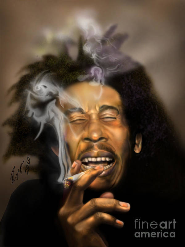 Bob Marley Poster featuring the painting Bob Marley-burning Lights 3 by Reggie Duffie