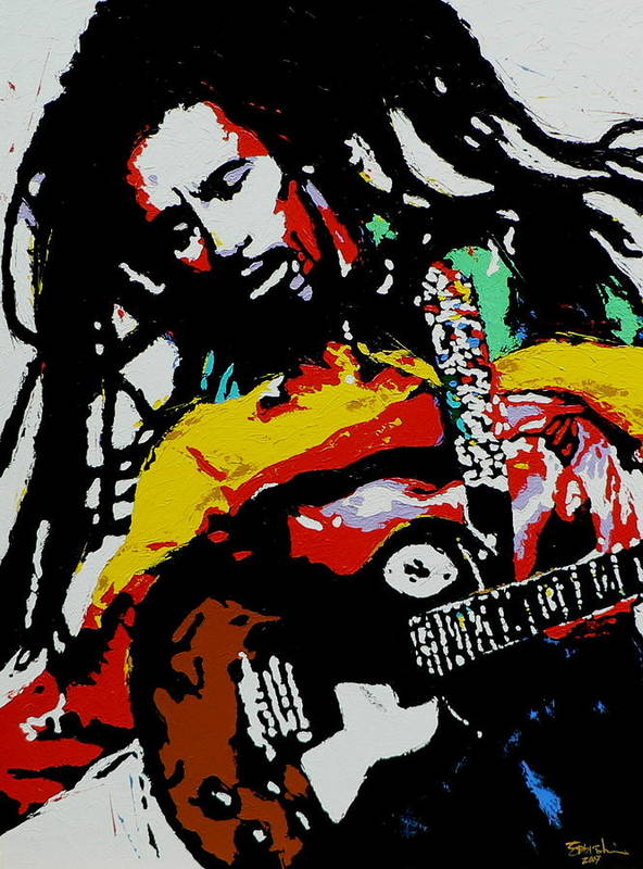 Reggae Poster featuring the painting Bob Marley by Eddie Lim
