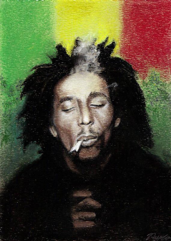 Bob Marley Poster Featuring The Pastel Smoke Break By Raymond L Warfield Jr