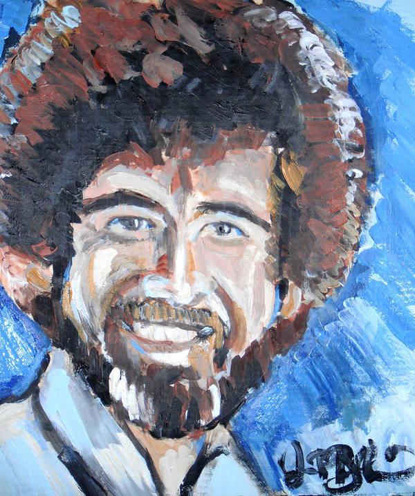 Bob Ross Poster featuring the painting Bob Ross by Jon Baldwin Art