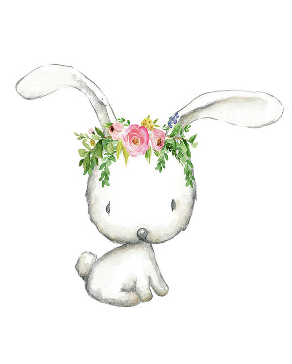 Boho Woodland Bunny Floral Watercolor Poster By Pink