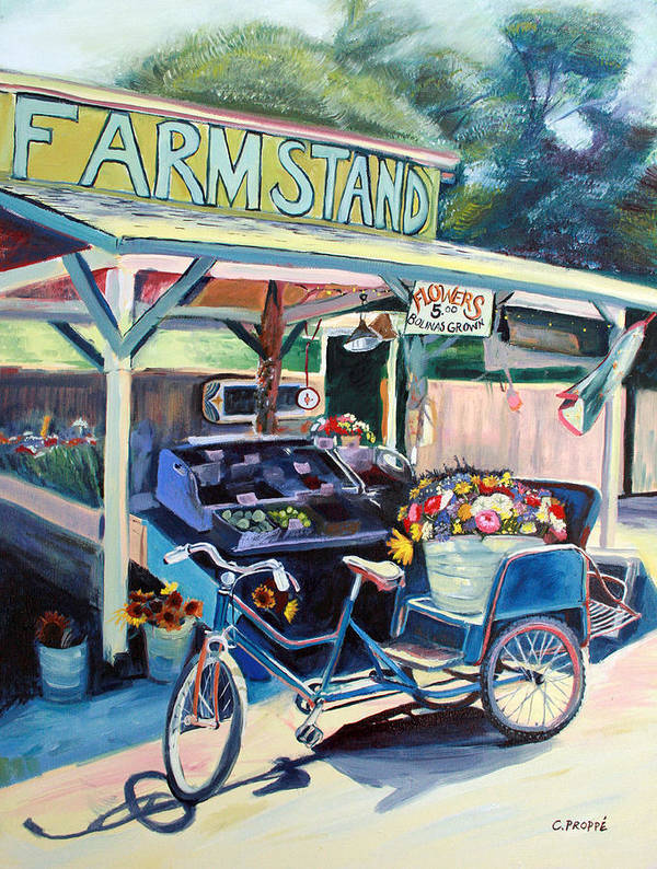 Bike Art Poster featuring the painting Bolinas Farmstand Bike by Colleen Proppe
