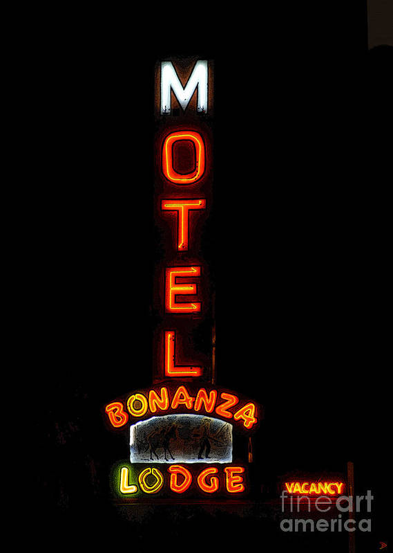 Art Poster featuring the painting Bonanza Lodge Motel by David Lee Thompson