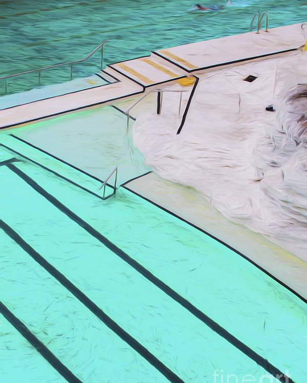 Bondi Pool Abstract Poster
