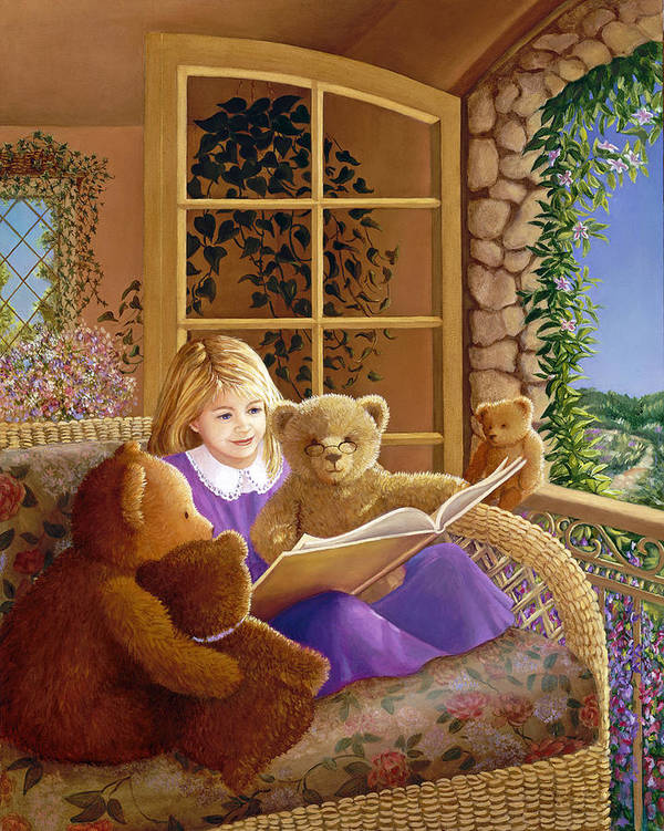 Teddy Bears Poster featuring the painting Book Club by Susan Rinehart